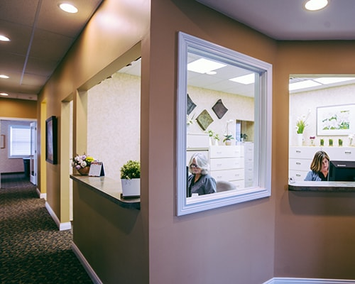 The front staff room at Thompson Family Dental at Nora