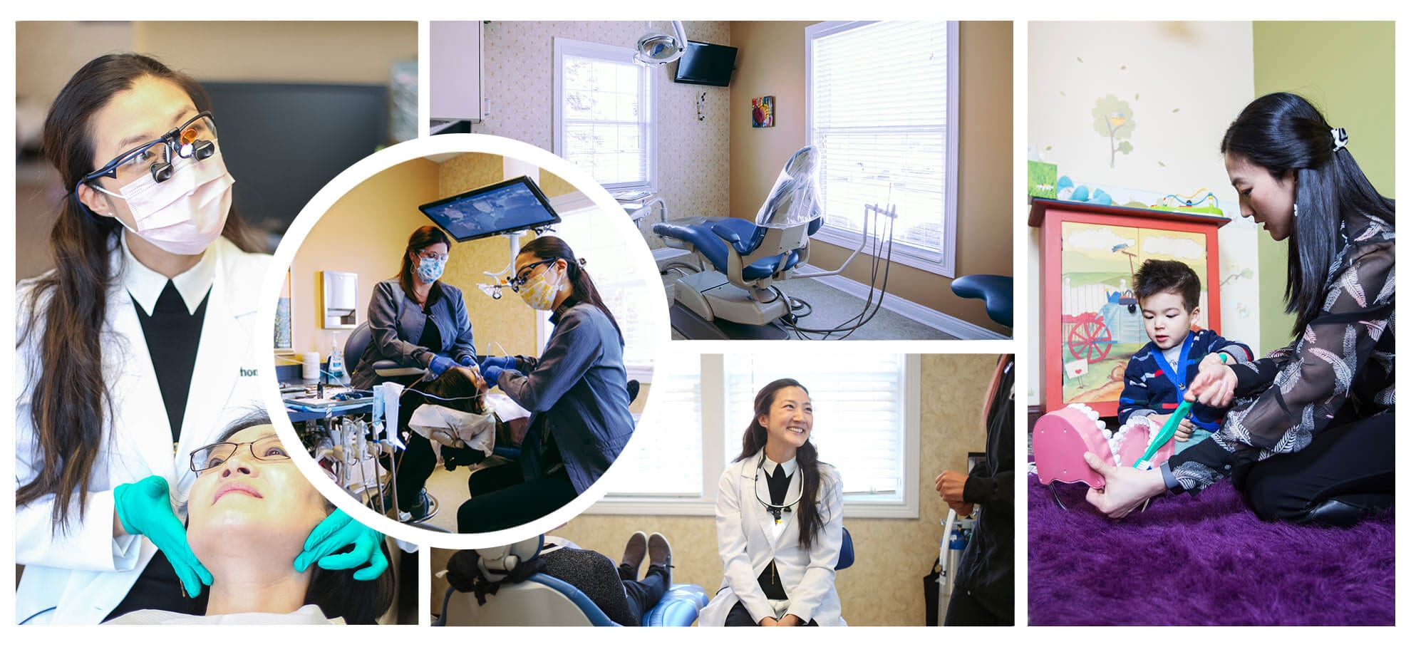 Multiple photos of the Thompson Family Dental team